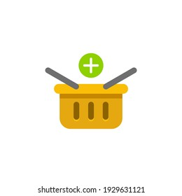 shopping basket icon, color, line, outline vector sign, linear style pictogram isolated on white. Symbol, logo illustration
