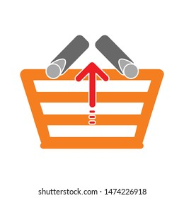 shopping basket icon. flat illustration of shopping basket vector icon. shopping basket sign symbol