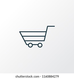 Shopping basket icon line symbol. Premium quality isolated trolley element in trendy style.