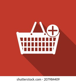 shopping basket icon with long shadow