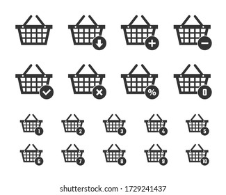 shopping basket icon set, shopping trolley signs for website
