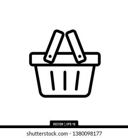 Shopping Basket Icon Vector Illustration Logo Template