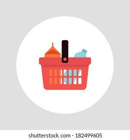 Shopping basket icon. Vector illustration