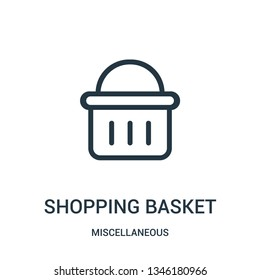 shopping basket icon vector from miscellaneous collection. Thin line shopping basket outline icon vector illustration. Linear symbol for use on web and mobile apps, logo, print media.