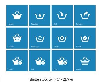 Shopping Basket icons on blue background. Vector illustration.