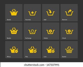 Shopping Basket icons on gray background. Vector illustration.