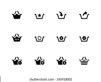 Shopping Basket icons on white background. Vector illustration.