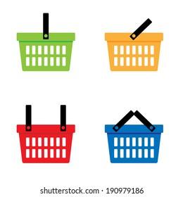 Shopping basket icons set. Vector illustration