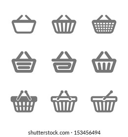 Shopping basket icons. Vector.