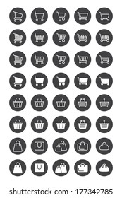 Shopping basket icons for web design. vector