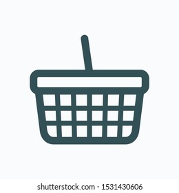 Shopping basket isolated icon, metal mesh basket linear vector icon