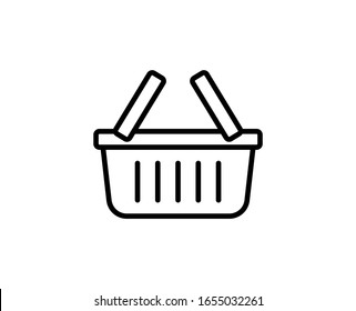 Shopping basket line icon. Vector symbol in trendy flat style on white background. Shopping basket sing for design.
