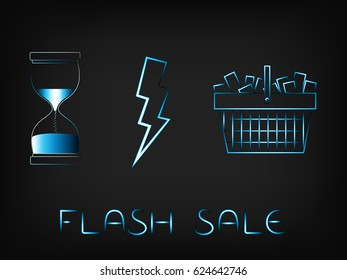 shopping basket next to hourglass and lightning bolt, concept of flash sales (vector with neon effect on mesh background)