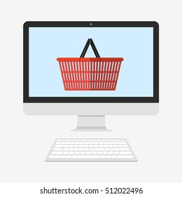Shopping basket on PC screen. Cyber Monday and black Friday. On-line shopping. Flat vector illustration