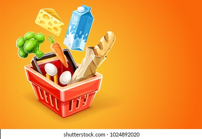 Shopping basket. Organic food sale concept. Goods products falling down into red basket. Milk package, cheese, vegetables broccoli cabbage and carrot, bread baguette in paper packaging, eggs.