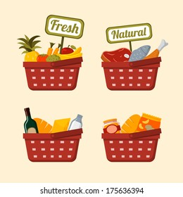 Shopping basket set with supermarket fresh and natural vegetables fruits meat chicken and fish isolated vector illustration