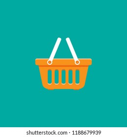 Shopping basket simple icon isolated on blue  background. Store cart icon. Fat vector Illustration. Good for web and mobile design.