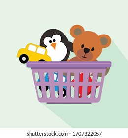 Shopping Basket and Toys vector