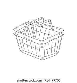 Shopping basket vector doodle sketch illustration isolated on white background.