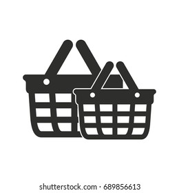 Shopping basket vector icon. Black illustration isolated on white background for graphic and web design.