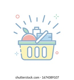 Shopping Basket Vector illustration. Filled Outline Color Icon.
