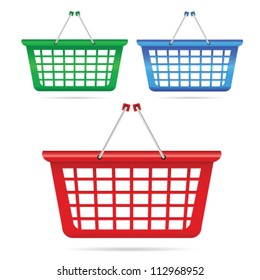 shopping basket vector illustration in three color