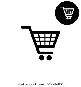 shopping basket  - white vector icon