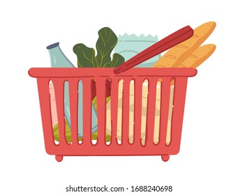 Shopping baskets full of organic and healthy food, isolated icon vector. Groceries, milk bottle and French baguettes, beetroot and lettuce. Bakery and dairy products, vegetables and packs in carrier