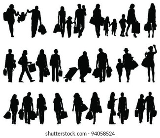 Shopping, black silhouettes on a white background-vector