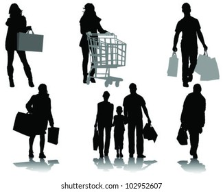 Shopping, black silhouettes with shadows-vector