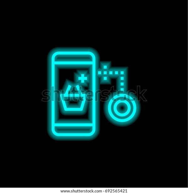 Shopping blue glowing neon ui ux icon. Glowing sign logo vector