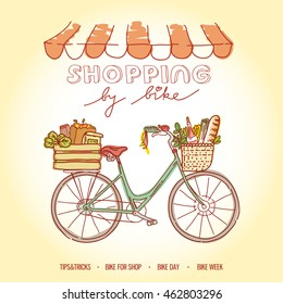 Shopping by bicycle, going to market on weeekend and buy some food. Vector modern illustration and design element on color background.