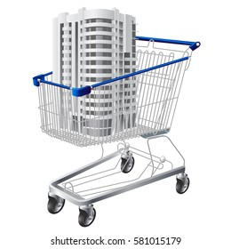 Shopping cart with a 3d apartment house model. Vector illustration