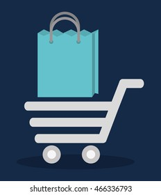 shopping cart bag online store market icon. Flat and Colorfull illustration. Vector graphic