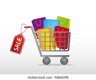 shopping cart with bags and tag over gray background. vector