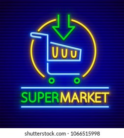 Shopping cart basket with arrow in supermarket neon sign icon for grocery store. EPS10 vector illustration.
