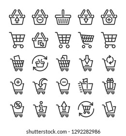 Shopping cart and baskets icons set. Online store symbols. Line style