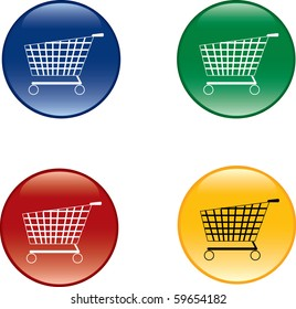 shopping cart buttons over white background