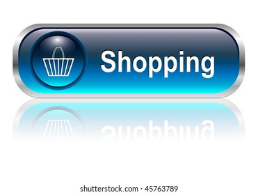 Shopping cart, buy icon button, blue glossy with shadow, vector illustration