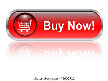 Shopping cart, buy icon button, red glossy with shadow, vector