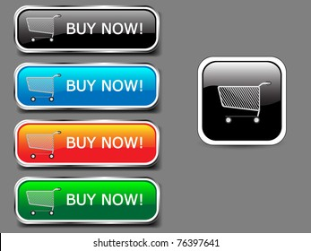 Shopping cart, buy icon button, colorful glossy with shadow.Vector