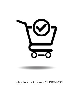 Shopping cart and check mark icon vector completed order, confirm flat sign symbols logo illustration isolated on white background black color.Concept design art for business and online Marketing.