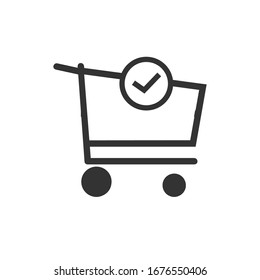 Shopping cart and check mark icon vector completed order, confirm flat sign symbols logo illustration isolated on white background black color. Concept design art for business and online Marketing