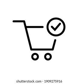 Shopping cart and check mark icon. Simple line style for web and app. Trolley symbol on white background. Vector Illustration. EPS10