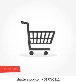 Shopping Cart, Checkout Isolated Flat Web Mobile Icon / Vector / Sign / Symbol / Button / Element / Silhouette