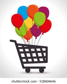 shopping cart colored balloons bunch