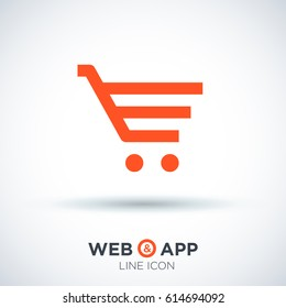 Shopping cart commercial line vector icon