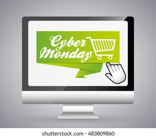 Shopping cart and computer icon. Cyber Monday ecommerce and market theme. Colorful design. Vector illustration