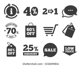Shopping cart, coupon and low price signs. Discount offer tag, chat, info icon. Sale discounts icon. 25, 40 and 60 percent off. Special offer symbols. Classic style signs set. Vector