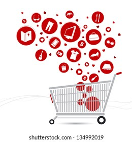 Shopping cart design and fashion icon on white background